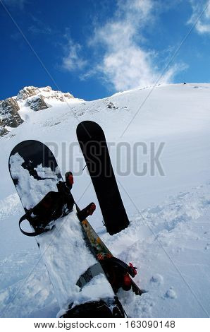 Two snowboards in snow, mountain parnassos, greece