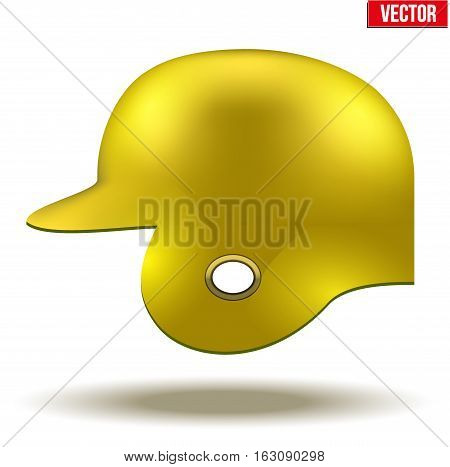 Classic baseball helmet. Yellow color. Side view. Sample equipment for your design. Vector illustration Isolated on white background.