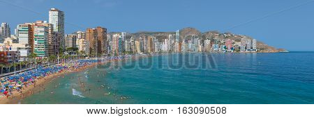 Panorama Of Sand Beach In Benidorm