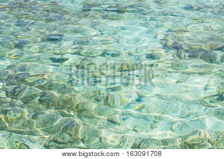 Buoyancy in the sea Crystal clear water of the tropical sea
