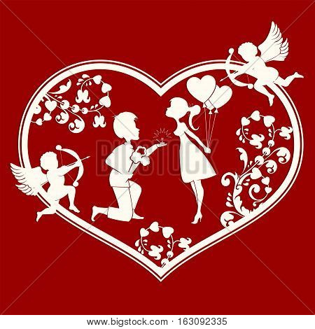 The design of the silhouette of a heart with cupids, lovers inside a guy with a bouquet of flowers and wedding ring, and girl with balloons
