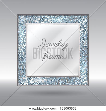 Glamorous Frame With Sparkling Scattered Diamonds.