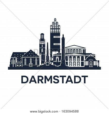Abstract skyline of city Darmstadt in Germany, vector illustration