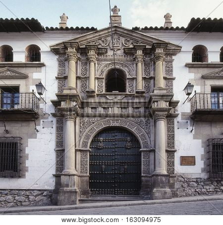 Colonial architecture on the facade and entrance of The National Mint of Bolivia. October 9 2012 - Potosi Bolivia