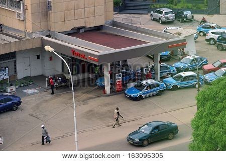 A gas station in the city of Pointe-Noire, Congo Republic, february 2015