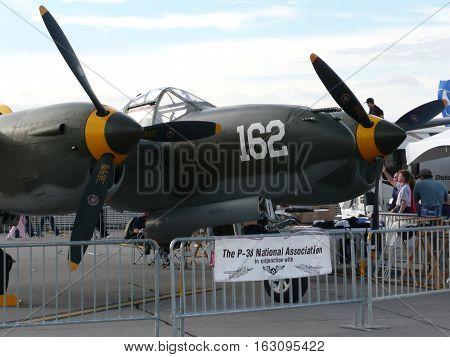 n-us-nv  Nellis AFB, Nevada - 2007-11-11:  Military Air Show - Lockheed P-38 Lightning Fighter Plane