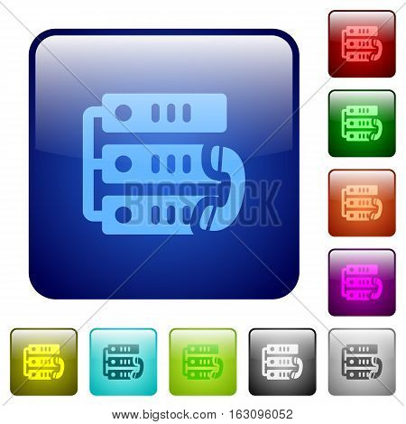 VoIP call icons in rounded square color glossy button set