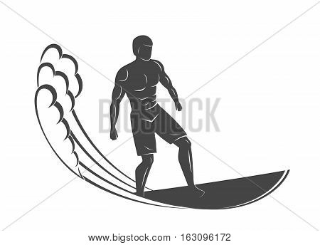 Vintage logo. Men surfing on wave. Man on surfboard. Surf logotype. Flat