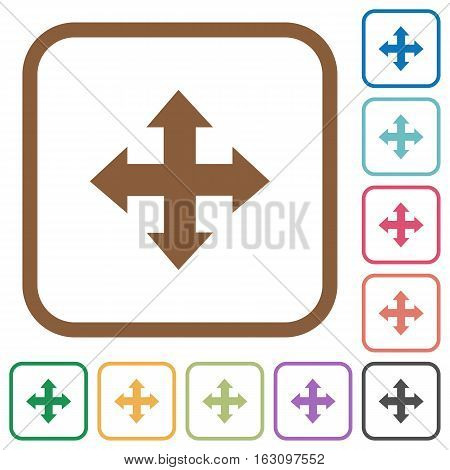 Move tool simple icons in color rounded square frames on white background
