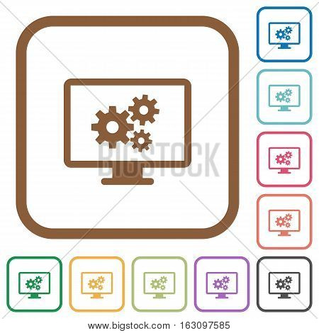 Screen settings simple icons in color rounded square frames on white background