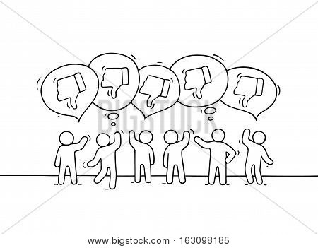 Crowd of working little people with speech bubbles and dislikes. Doodle cute miniature scene with positive messages. Hand drawn cartoon vector illustration for internet design and infographic.