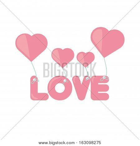 pink lettering love hearts hanging vector illustration eps 10