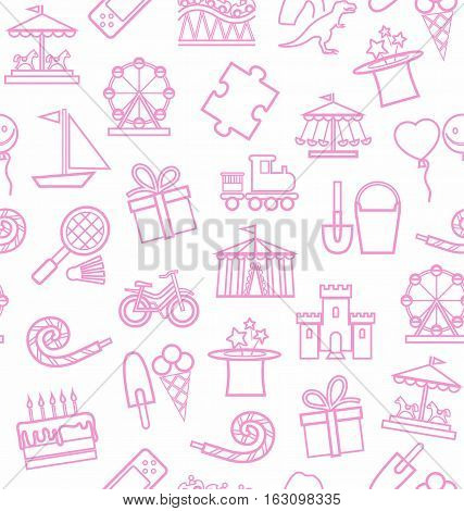 Children's entertainment and leisure, background, seamless, white, pink, contour. Vector background with objects for the entertainment of children. Pink linear image on a white field.