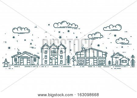 Winter Cityscape. Vector illustration with houses, clouds and snow in modern flat linear style.