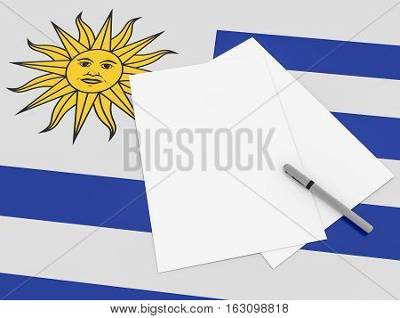 Notes On Uruguay: Blank Sheets of Paper With A Pen On Uruguayan Flag 3d illustration
