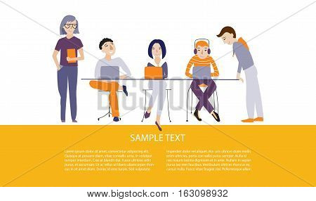 Teamwork, business team vector illustration concept, flat style, place for text, horizontal banner