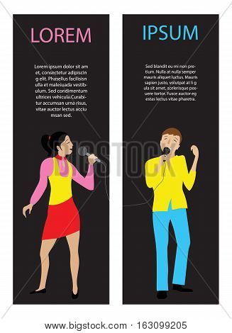 Woman and man singing into microphone, Couple sing in karaoke party, flat vector vertical banners