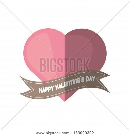 happy valentines day card pink heart shadow vector illustration eps 10