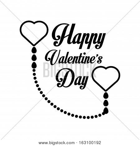 happy valentines day card greeting heart label outline vector illustration eps 10
