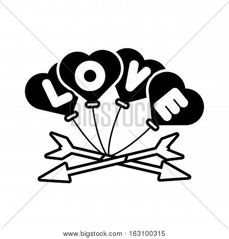 love card hearts balloons hang with arrow outline vector illustration eps 10