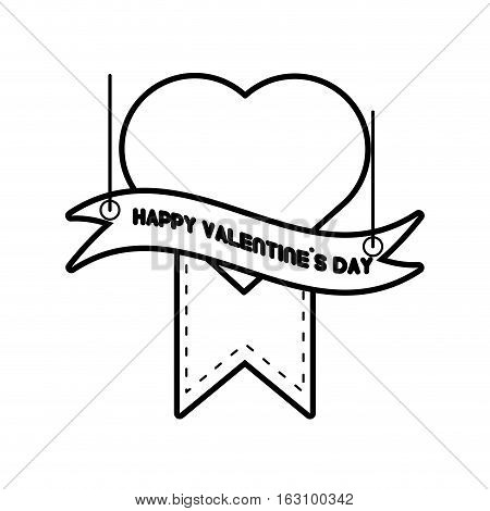happy valentines day card heart hanging ribbon line vector illustration eps 10