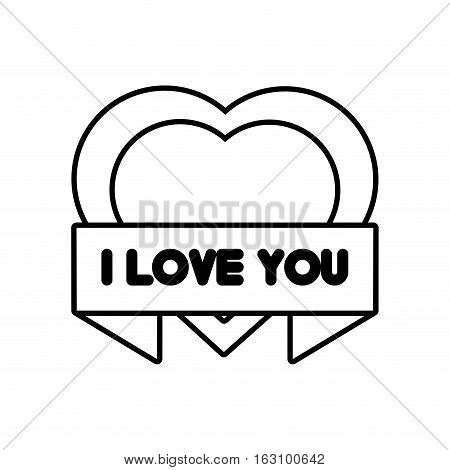 heart i love you ribbon outline vector illustration eps 10