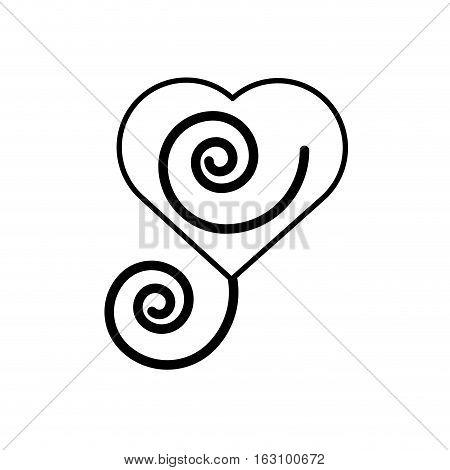 heart romantic ornament outline vector illustration eps 10