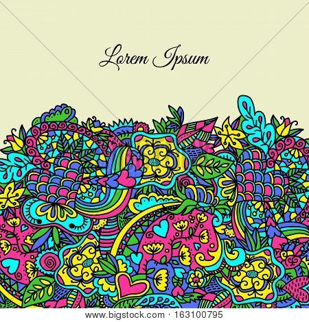 Bright Greeting Card With Doodle Elements.