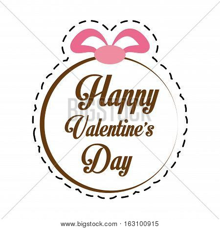 happy valentines day card greeting round ribbon cut line vector illustration eps 10