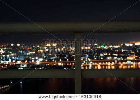 Bangkok city river side at night ,bird eye view