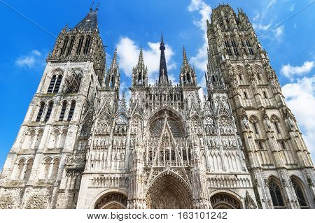 View on Rouen cathedral on a sunny day. Normandy, France