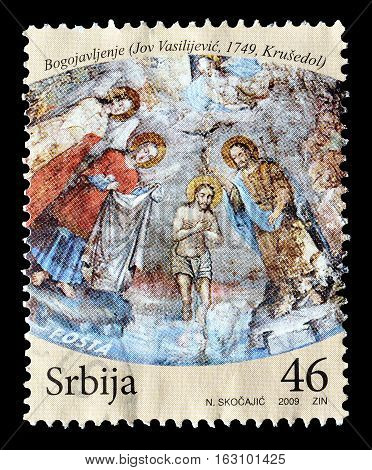 SERBIA - CIRCA 2009 : Cancelled postage stamp printed by Serbia, that shows Religious motive.