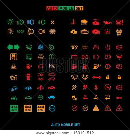 Car control panel interface icon big set isolated on black background. Auto dashboard sign icons. Collection transportation panel symbol