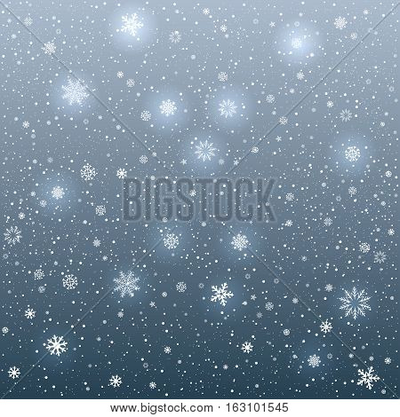 The snow falls and cartoon sky dark background. Winter snowflake. Christmas and New Year eve