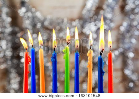 jewish holiday Hanukkah with menorah over wooden background Hanukkah menorah candles Jewish holidays