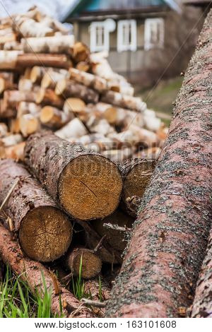 The logs and firewood. The logs in the foreground then the wood.