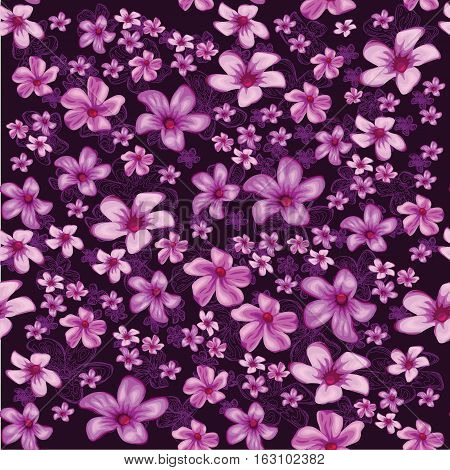 Seamless foral pattern with lined and colored flowers on dark background