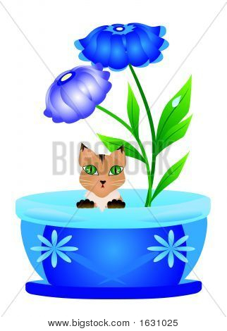 Cute kitten sitting inside flowerpot - vector illustration poster