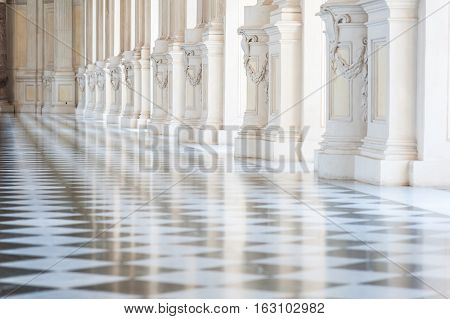 Gallery in a beautiful palace with sunlight