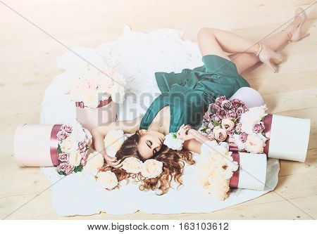Pretty Girl In Flowers Bouquets