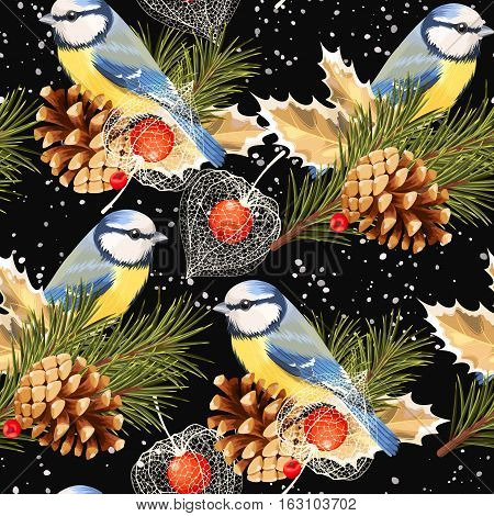 Tomtit, spruce and winter cherry vector seamless background