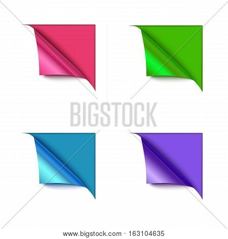 Set of four paper corner folds isolated on color background. Realistic vector paper.