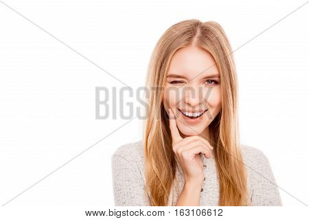 Portrait Of Attractive Minded Happy Woman Winking And Flirting