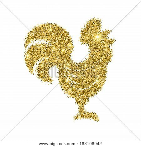 Glitter gold crowing rooster with sparkles isolated on white background. Chinese symbol for the New year 2017. Cockerel silhouette with golden glittering confetti. Tinsel vector illustration.