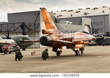 Ostrava, Czech Republic - September 22: Men Test J-015 Royal Netherlands Air Force Lockheed Martin F