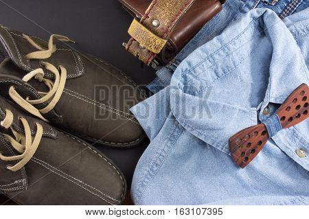 Male accessories and possible combinations. Fashion abstract