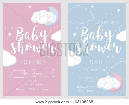 Baby shower set. Cute invitation cards design for baby shower party. Template design for girl and boy