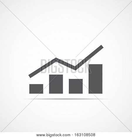 Growing bar graph icon with rising line. Financial forecast graph. Gray graphic icon. Vector illustration.