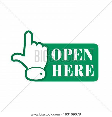 Open here sign with hand icon and with text. Green open here icon. Vector illustration.