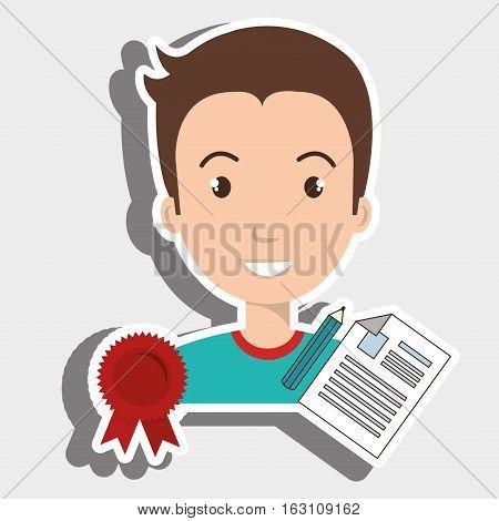 man student medal ribbon vector illustration eps 10